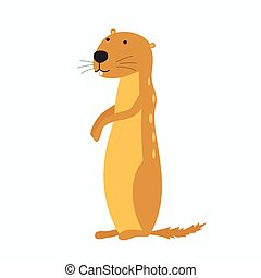 Gopher isolated on white background - Cartoon Vector...