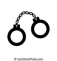 Handcuffs icon. Vector illustration - Handcuffs icon....