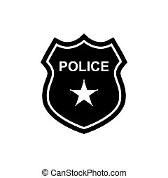 Police badge icon. Silhouette illustration