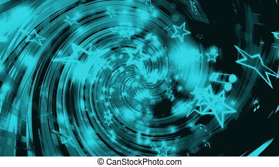 Swirl stars music notes loop blue