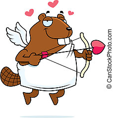 Beaver Cupid - A happy cartoon beaver cupid with a bow and...