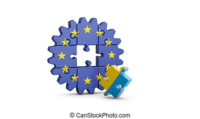 puzzle EU and Ukrainian - Gear-puzzle with a flag of the...