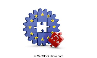 puzzle EU and Turkey - Gear-puzzle with a flag of the...