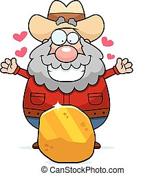 Prospector Gold - A happy cartoon prospector with a gold...