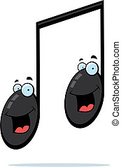 Notes Smiling - Two cartoon musical notes smiling and happy