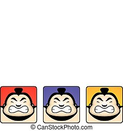 Sumo Heads - A group of cartoon sumo heads looking angry