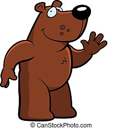 Bear Waving - A happy cartoon bear waving and smiling