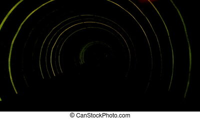 Abstract light and speed motion in subway railroad tunnel.