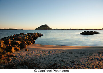 Harbour view to Mount and Tauranga harbour entrance.