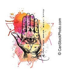 Hipster illustration with sacred geometry, hand, and all seeing eye symbol inside triangle pyramid. Masonic symbol. Watercolor background. Grunge Esoteric spiritual ethnic mascot. t-shirt design