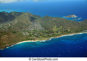 Aerial view of Sandy Beach and Koolua mountains on the south...