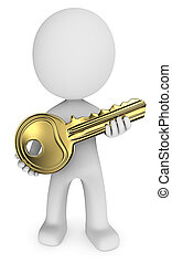 Golden Key. - Dude 3D character holding modern Golden Key.