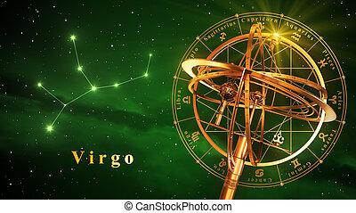 armillary, esfera, y, constelación, Virgo, encima,...