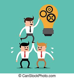 businesman cartoon project design - businessman gears bulb...