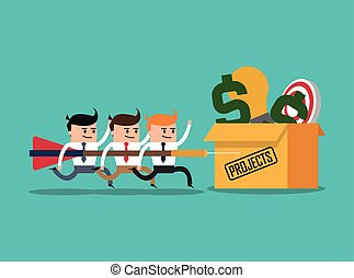 businesman cartoon project design - businessman box money...