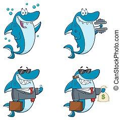 Blue Shark Character Collection - Blue Shark Cartoon Mascot...