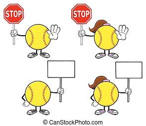 Softball Player Collection- 6 - Softball Faceless Player...