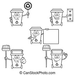 Outlined Recycle Bin Collection Set - Black And White...