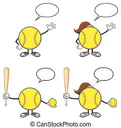 Softball Player Collection- 2 - Softball Faceless Player...