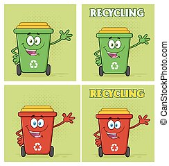 Recycle Bin Character Collection - Recycle Bin Cartoon...