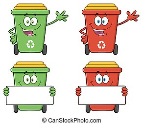 Recycle Bin Character Collection 5 - Recycle Bin Cartoon...