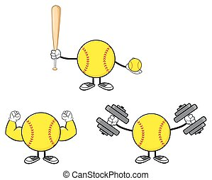 Softball Player Collection- 8 - Softball Faceless Player...
