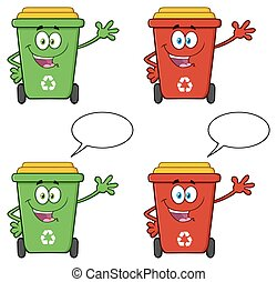 Recycle Bin Character Collection 3 - Recycle Bin Cartoon...