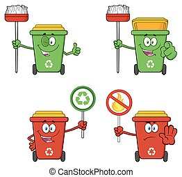 Recycle Bin Character Collection 6 - Recycle Bin Cartoon...