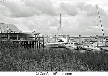 Saint Marys, Georgia - Boats tied up at the pier along the...