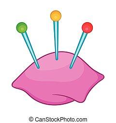 Sewing pins and pin cushion icon, cartoon style - Sewing...