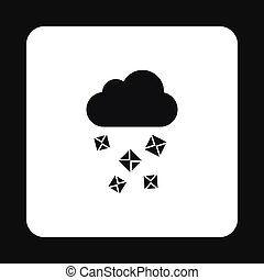 Cloud and hail icon, simple style - icon in simple style on...