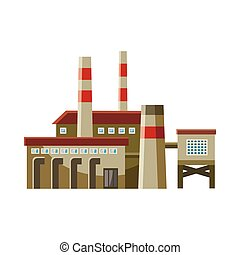 Big factory with pipes icon, cartoon style