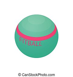 Fitball icon, cartoon style - Fitball icon in cartoon style...