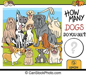 counting task with dogs - Cartoon Illustration of...