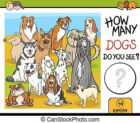 counting game with dogs - Cartoon Illustration of...