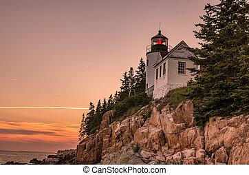 lighthouse on rocky coast