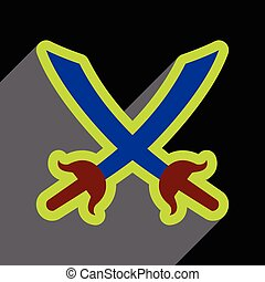 Flat with shadow Icon crossed swords on a colored background