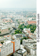 aerial view of central Berlin from the top of TY tower