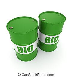 3D rendering barrel of biofuels - 3D rendering green barrels...