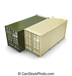 3D rendering container - 3D rendering the ship a containers...