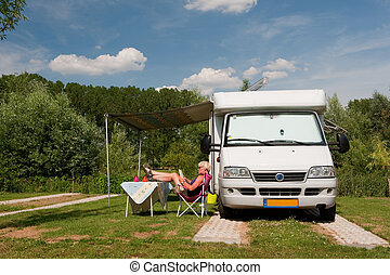 Vacation - Traveling by mobil home in summer on vacation