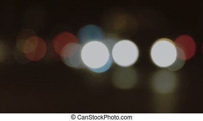 Night traffic lights out-of-focus blurred shot