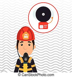 man fire alarm vector illustration graphic eps 10