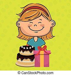girl cake gift box