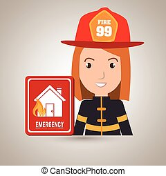 woman fire house icon vector illustration graphic