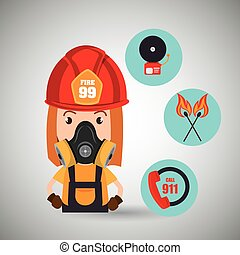woman firefighter call 911 alarm vector illustration graphic