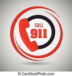 call 911 emergency phone vector illustration graphic