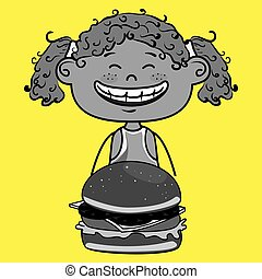 girl burger food