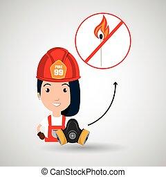 woman fire match