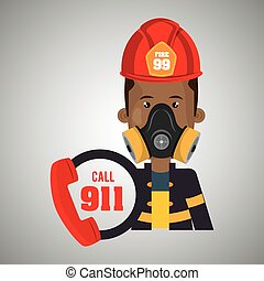 man firefighter mask helmet vector illustration graphic